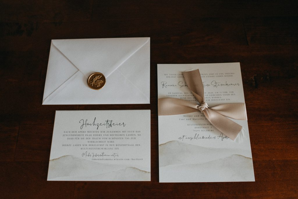 German vineyard wedding with boho touches invitation