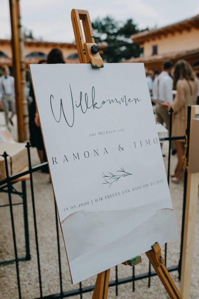 German vineyard wedding with boho welcome sign