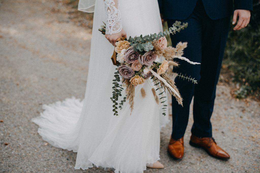 German vineyard wedding with boho touches bouquet