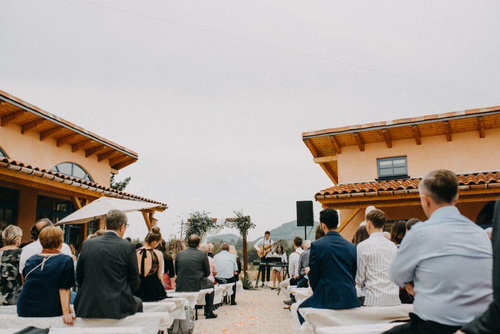 German vineyard wedding with boho touches ceremony
