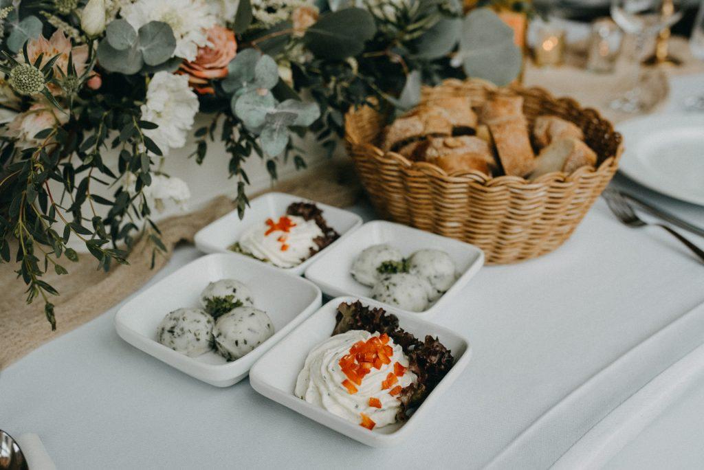 German vineyard wedding with boho touches food