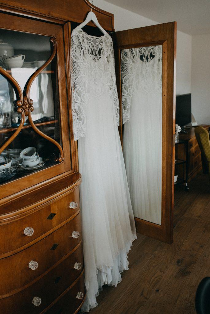 German vineyard wedding with boho touches dress